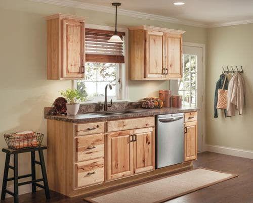 Value Choice 24 Thunder Bay Hickory Standard 1 Door Drawer Base Cabinet At Menards Hickory Kitchen Cabinets New Kitchen Cabinets Rustic Kitchen