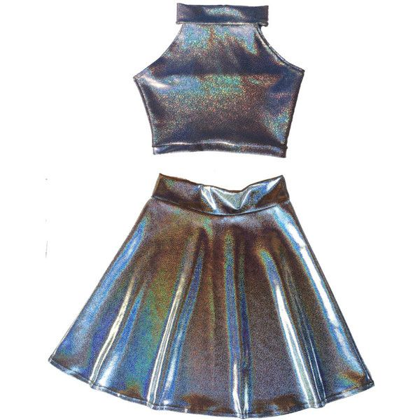 2e7e8f3e9 HOLOGRAPHIC TWIN SET Sleeveless Turtle Neck Crop and High Waist Skater...  ($85) ❤ liked on Polyvore featuring skirts, dresses, tops, bottoms, ...