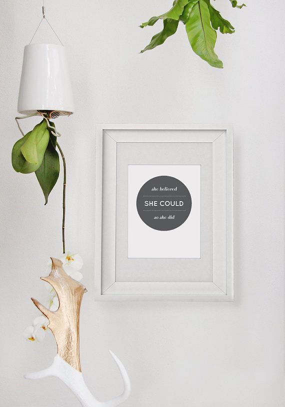 She Believed  A4 Print  Inspirational Quote  by ToodlesNoodles, $27.00