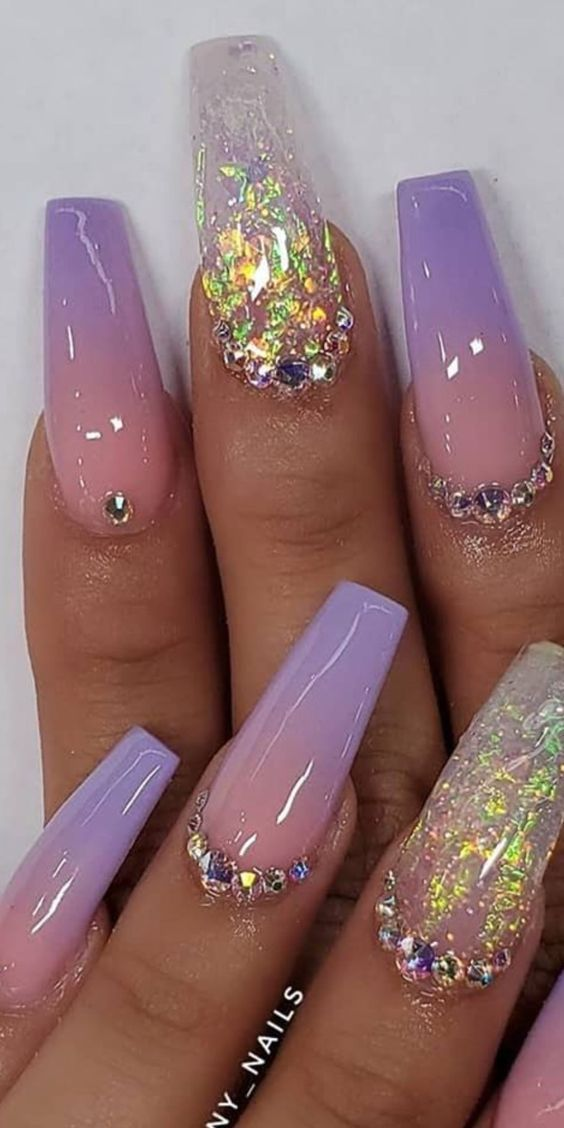 10 Impressive Spring Nails Coffin Ombre In 2020 Lavender Nails Ombre Acrylic Nails Stylish Nails