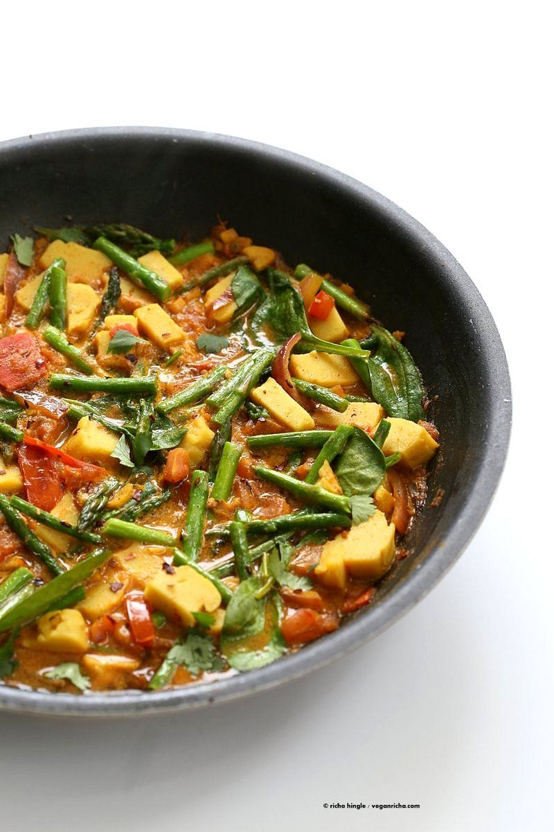 Chickpea Tofu Asparagus Curry