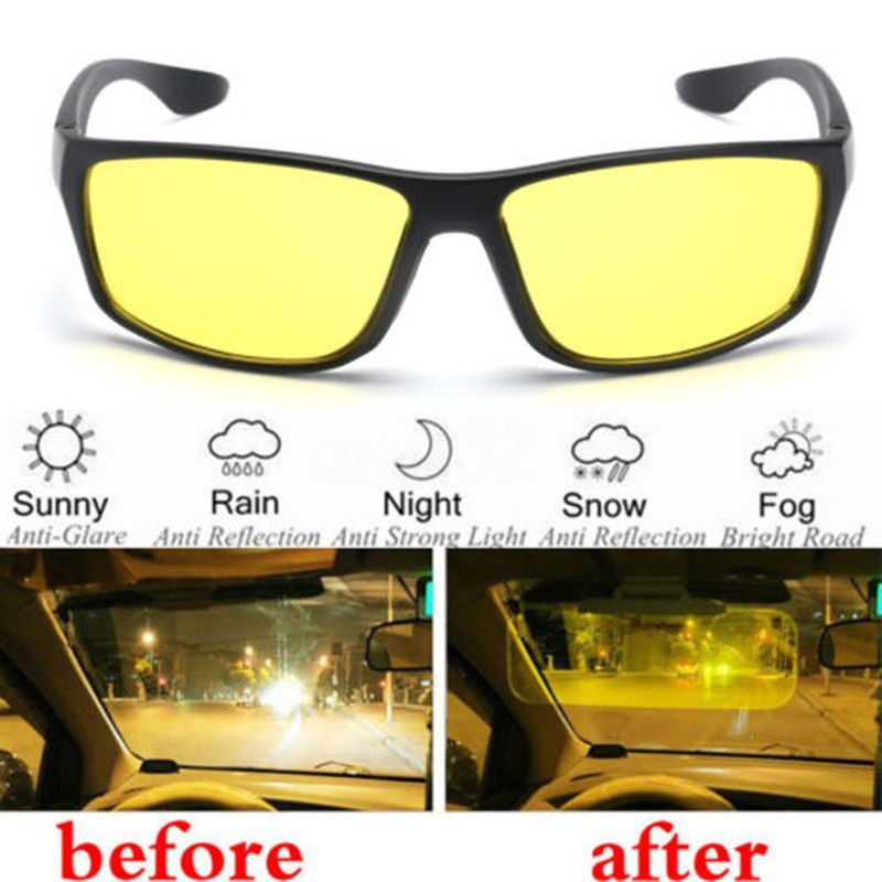 a35cd38af91 1X Night Vision Driving Cycling Anti Glare Glasses Uv Wind Protection  Eyeglasses  nightvisiongoggles