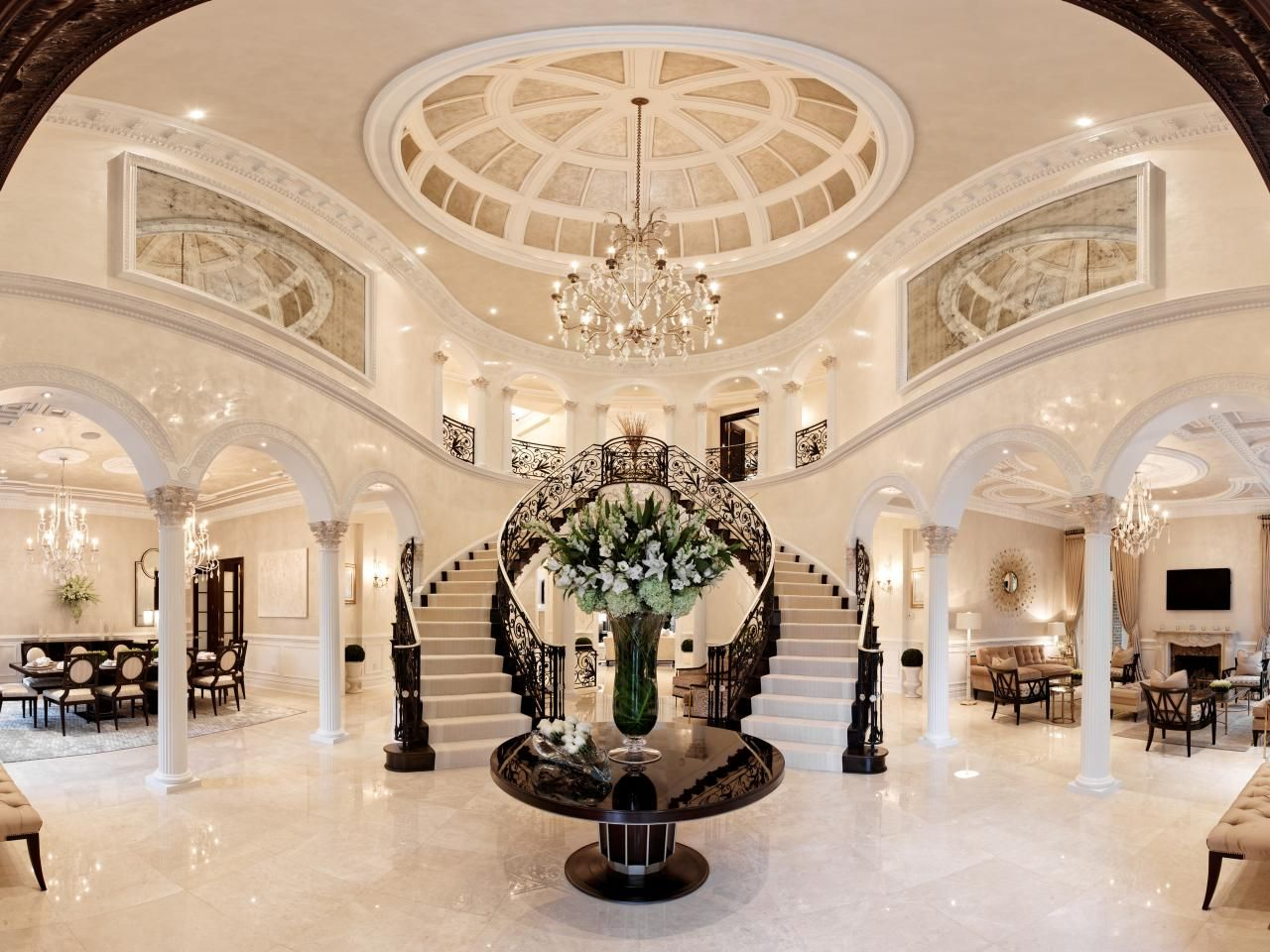 Grand Foyer White House : Classic black and white entryway hgtv grand staircase