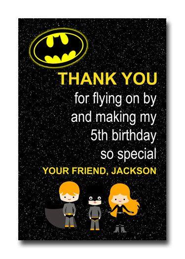 Custom Batman Superhero Super Hero Birthday Party Invitation Or Thank You Card