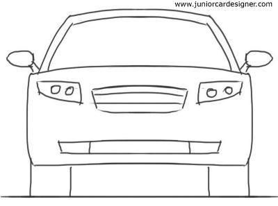Car Drawing For Kidstutorial 4 Door Car Front View Car Drawing