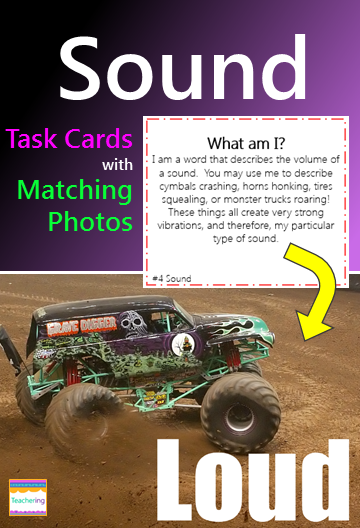 """Sound task cards and vocabulary photo match. Play as scoot, search the room, or center. """"What am I"""" clues match to labeled photographs showing each sound vocabulary word. Students infer about the described vocabulary and record answers. Supports ELL and visual learners! Labeled sound vocab pictures included: acoustics  ears  high pitch length loud low pitch quiet thickness vibrations volume"""