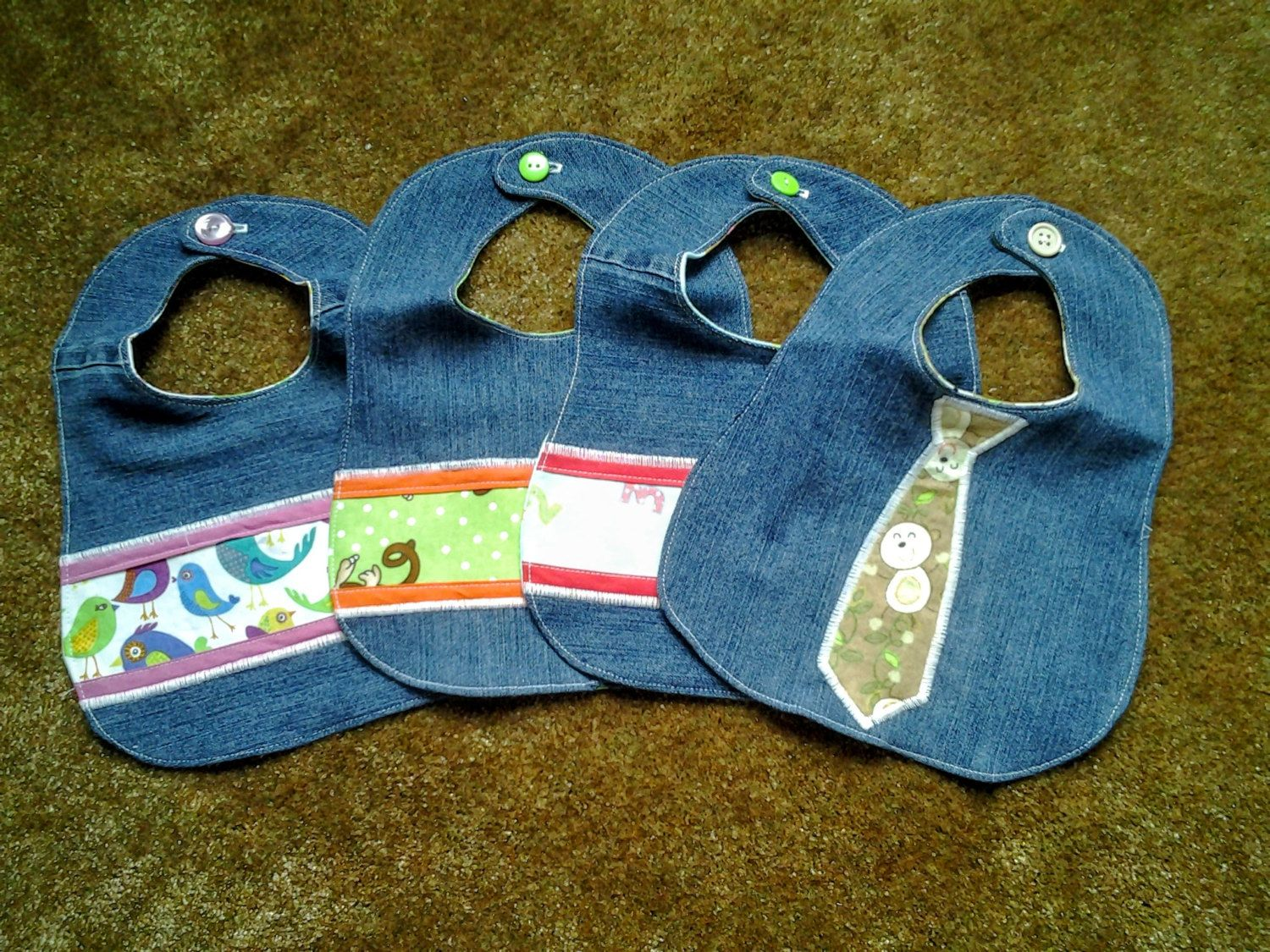 Recycled Denim Bibs for Boys and Girls by GrandmaSewsBest on Etsy