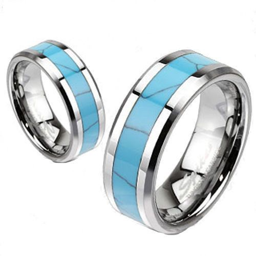 Mirror Polished Silver Tungsten Wedding Band With A Sassy Turquoise Inlay For Men And Women