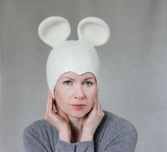 Mouse felt hat white wool felted cloche seamless by aureliaLT, $65.00