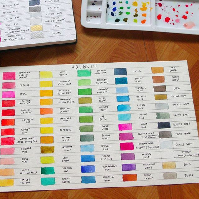 Yey Finally Swatched My 60pc Holbein Watercolor Set