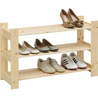 buy 3 shelf shoe storage rack solid pine at argoscouk