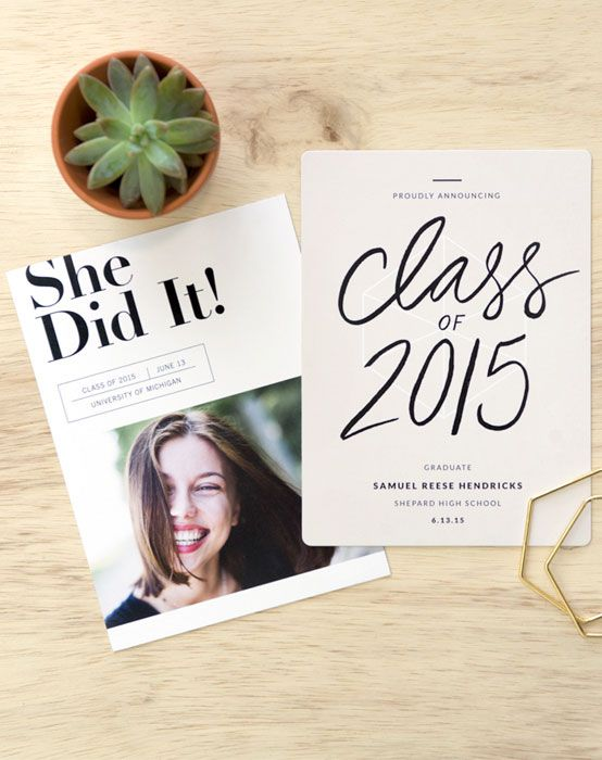 Celebrate the graduate with these fun, modern and eco-friendly graduation announcements. Perfect for high school and college grads!