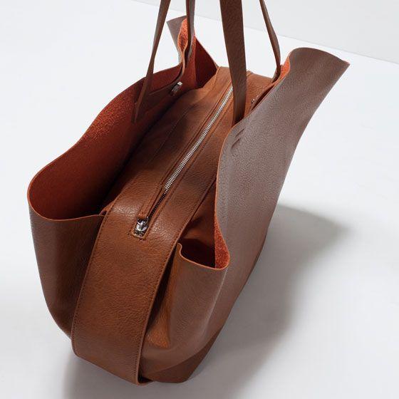 ZARA - WOMAN - SHOPPER BAG WITH CONTRAST INTERIOR