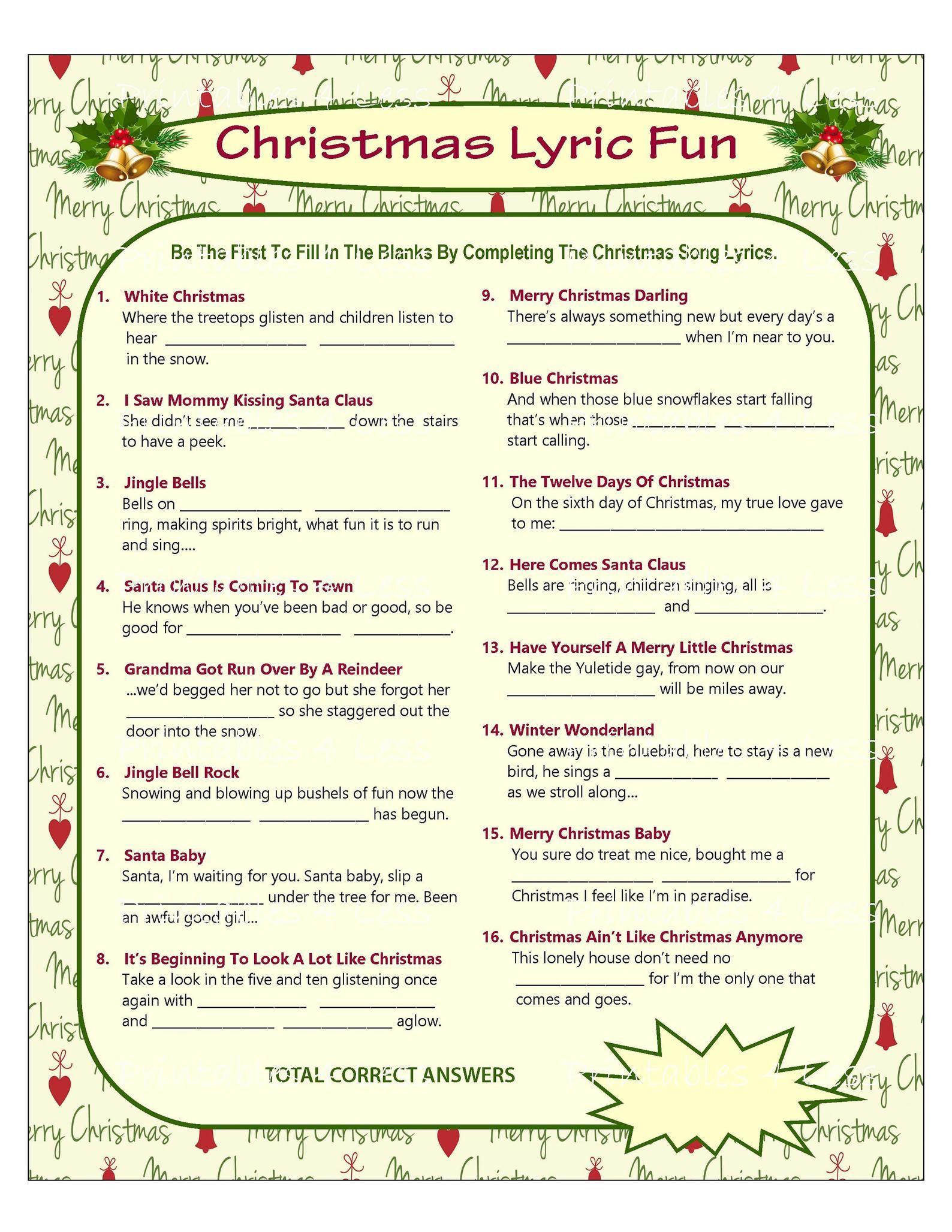 Christmas Song Game Christmas Music Game Christmas Carol Game Printable Christmas Games Diy Holiday Games Xmas Printables 4 Less In 2020 Printable Christmas Games Christmas Song Games Christmas Songs Lyrics