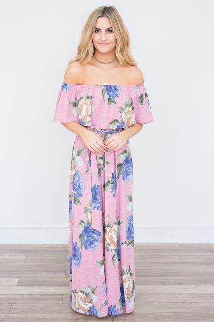 74cd05fedd22c Shop our Floral Print Off The Shoulder Maxi Dress. Available in navy ...