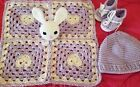 Crochet baby bunny lovey security blanket handmade shower gift #crochetsecurityblanket