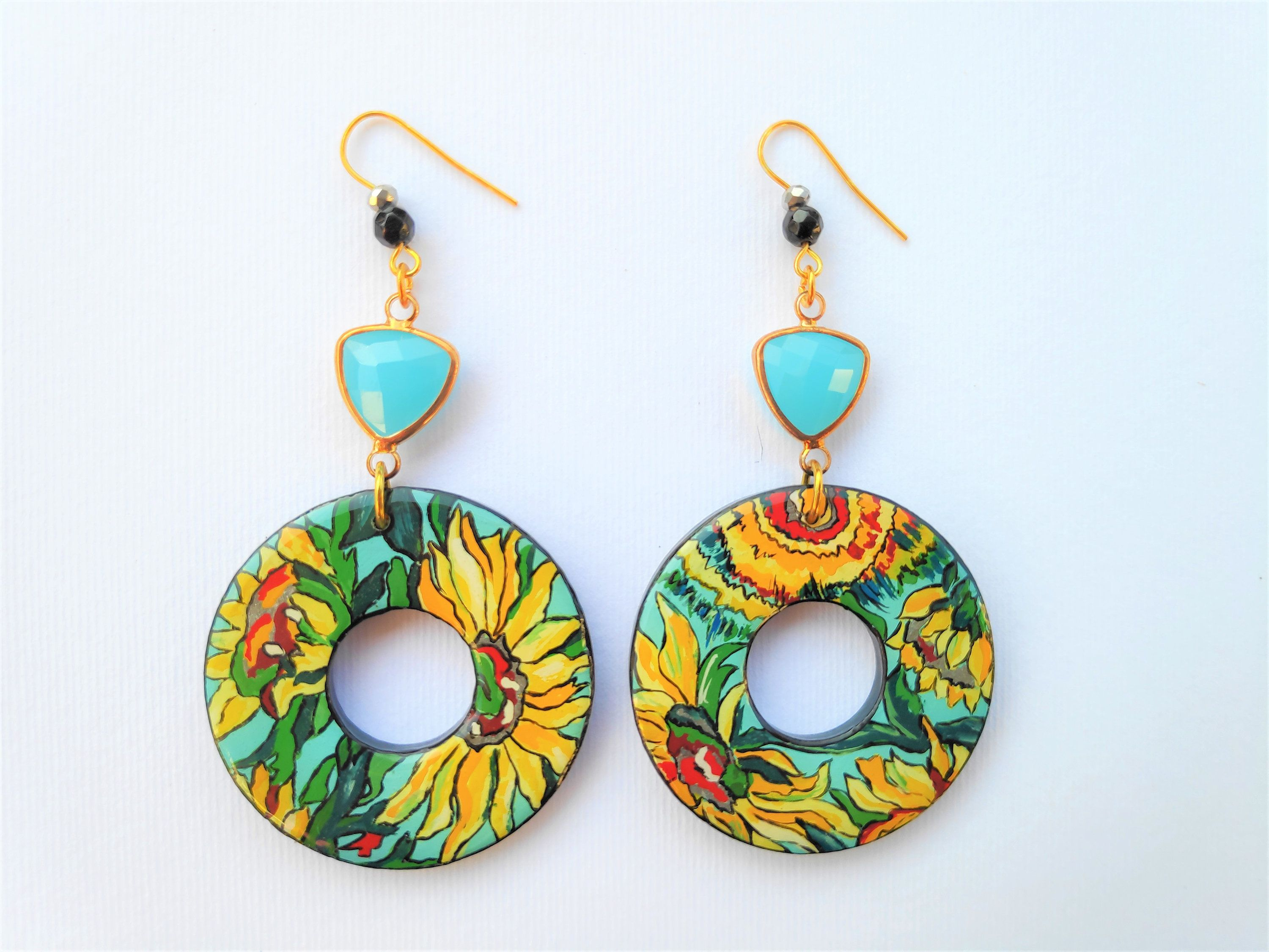 laser cut plastic jewellery for her Wave Print Earrings Fashion multicolour layered stud earrings handmade gift