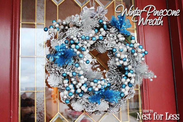 Winter Silver  Blue Pinecone Wreath Pinecone, Wreaths and - christmas clearance decor