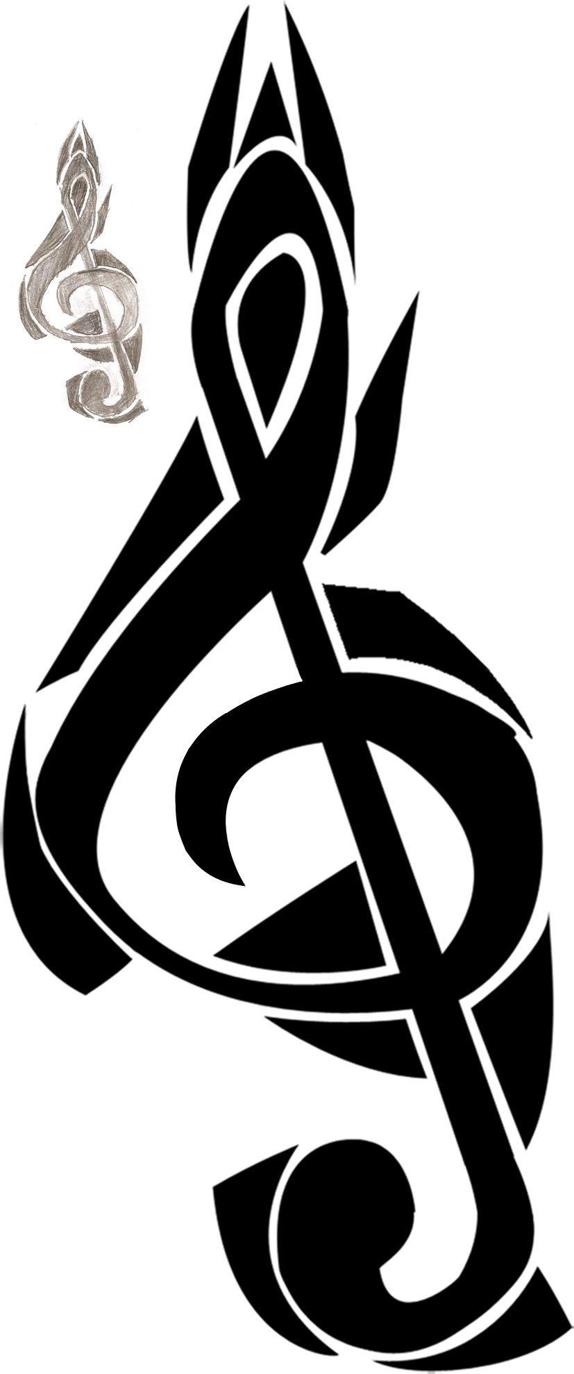 Tribal Treble Clef Tattoo Designs Treble clef tribal