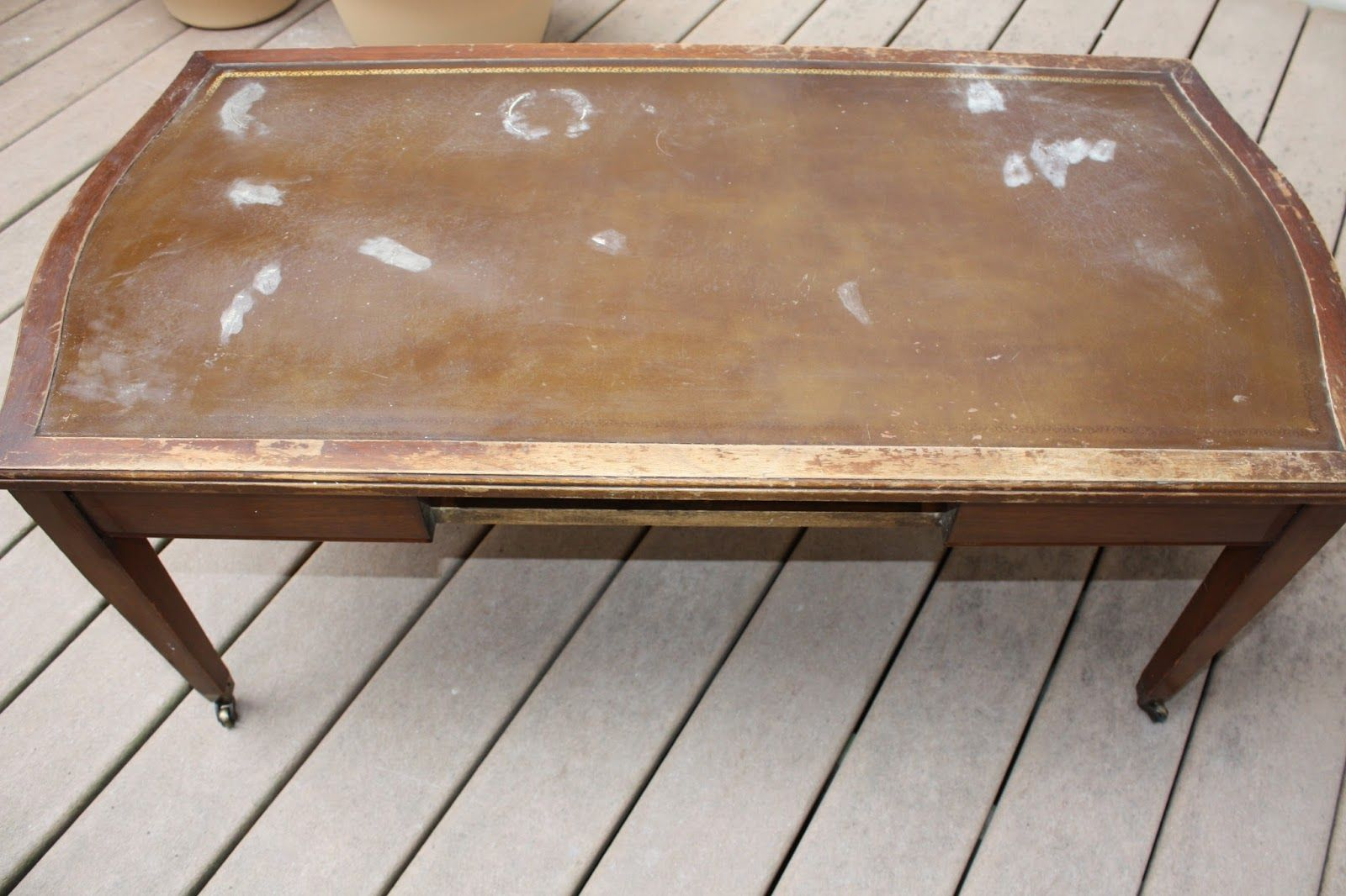 - Shabby Chic Coffee Table With A Painted Leather Top Leather Top