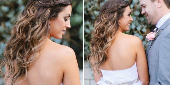 8 cheveux d tach s et ondul s avec une tresse de chaque c t coiffure pinterest detacher - Coiffure mariage detache ...
