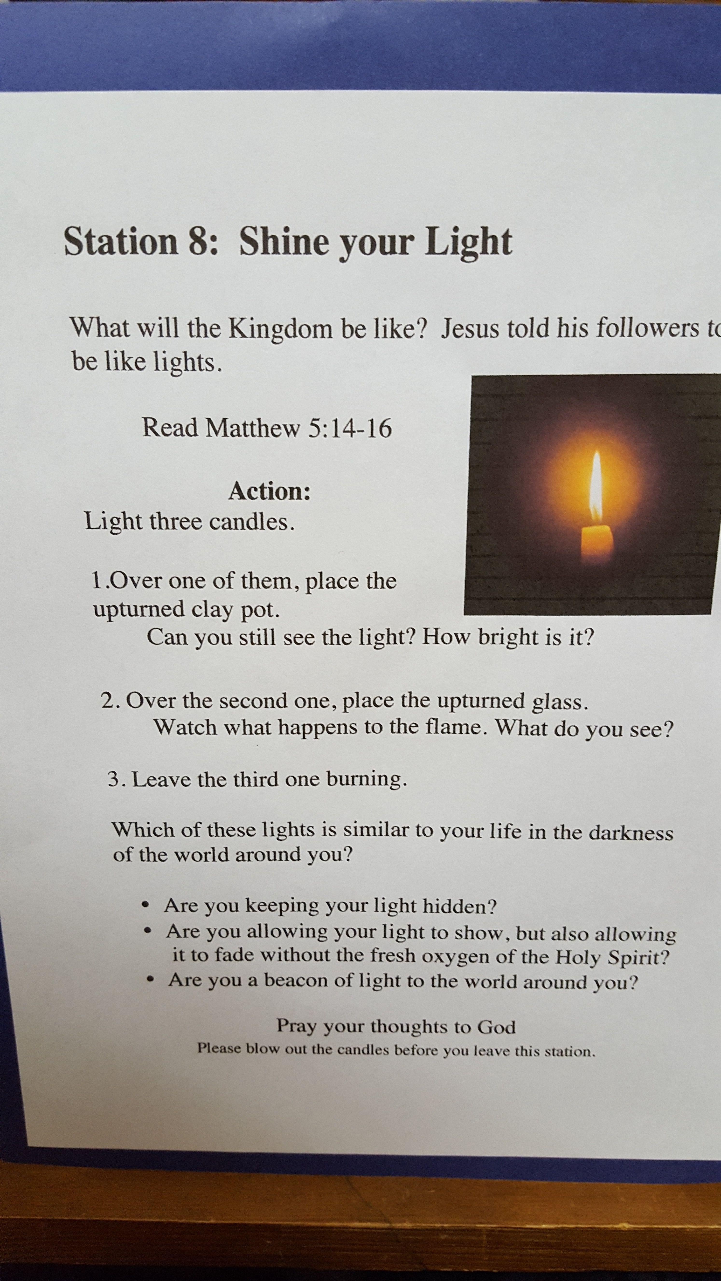 station 8: shine your light matthew 5:14-16 | advent prayer stations