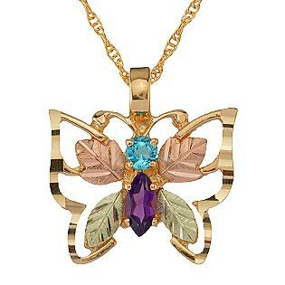 dc53a5d7e99f7 Black Hills Gold -Tri-Color 10K Gemstone Butterfly Pendant ...