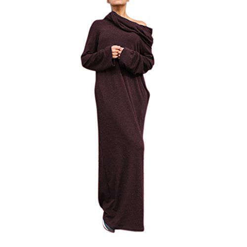 Preself Womens Casual Loose Over Size Sexy Off Shoulder Hooded Maxi Long Dress 10 Green *** Read more reviews of the product by visiting the link on the image.