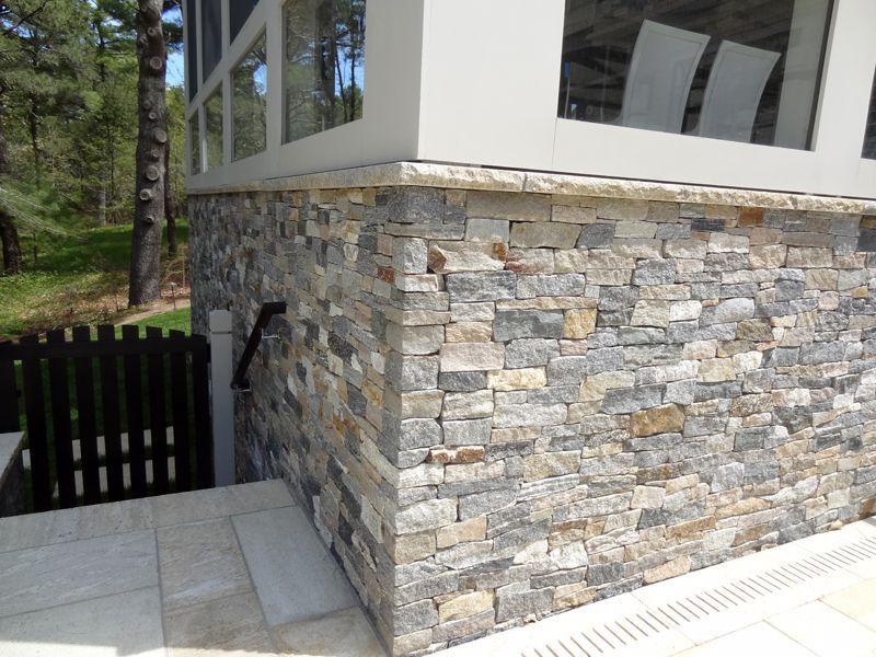 Boston blend ledgestone natural stone veneer the for Stone facade siding