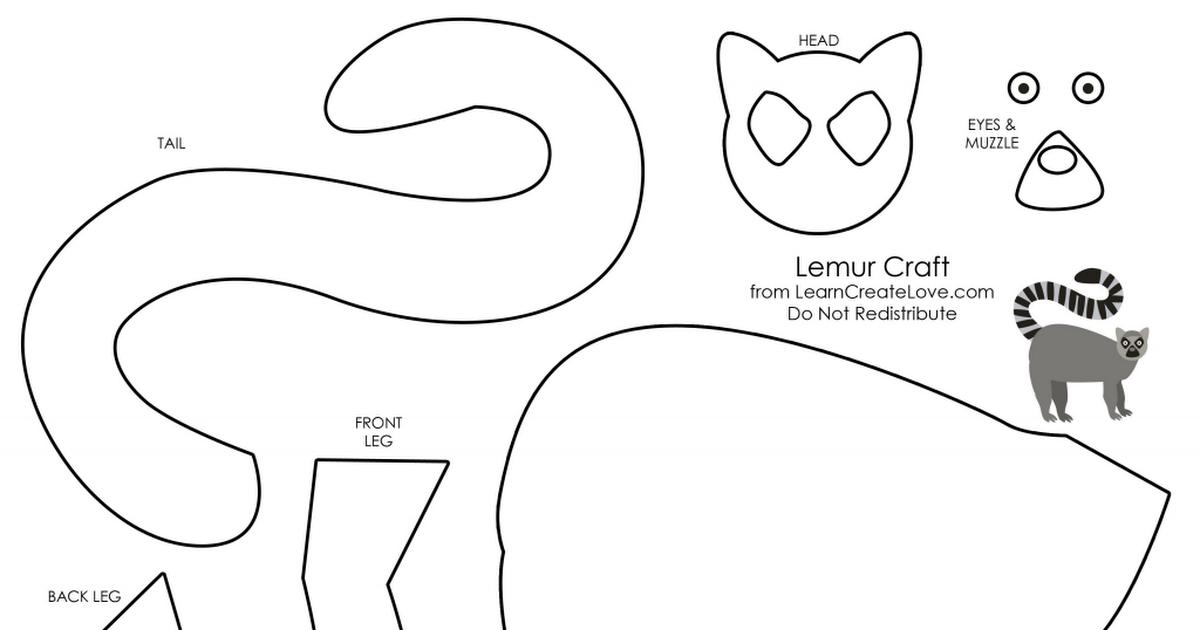 lemur.pdf Lemur, Rainforest crafts, Preschool crafts