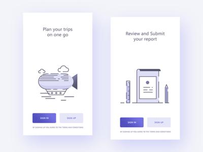 Intro screens for Concur app App, App design, Splash screen