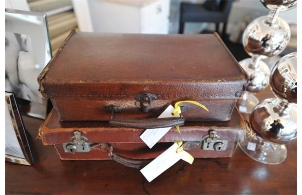 Antique leather suitcases Old meets new at Plum Home and Decor in