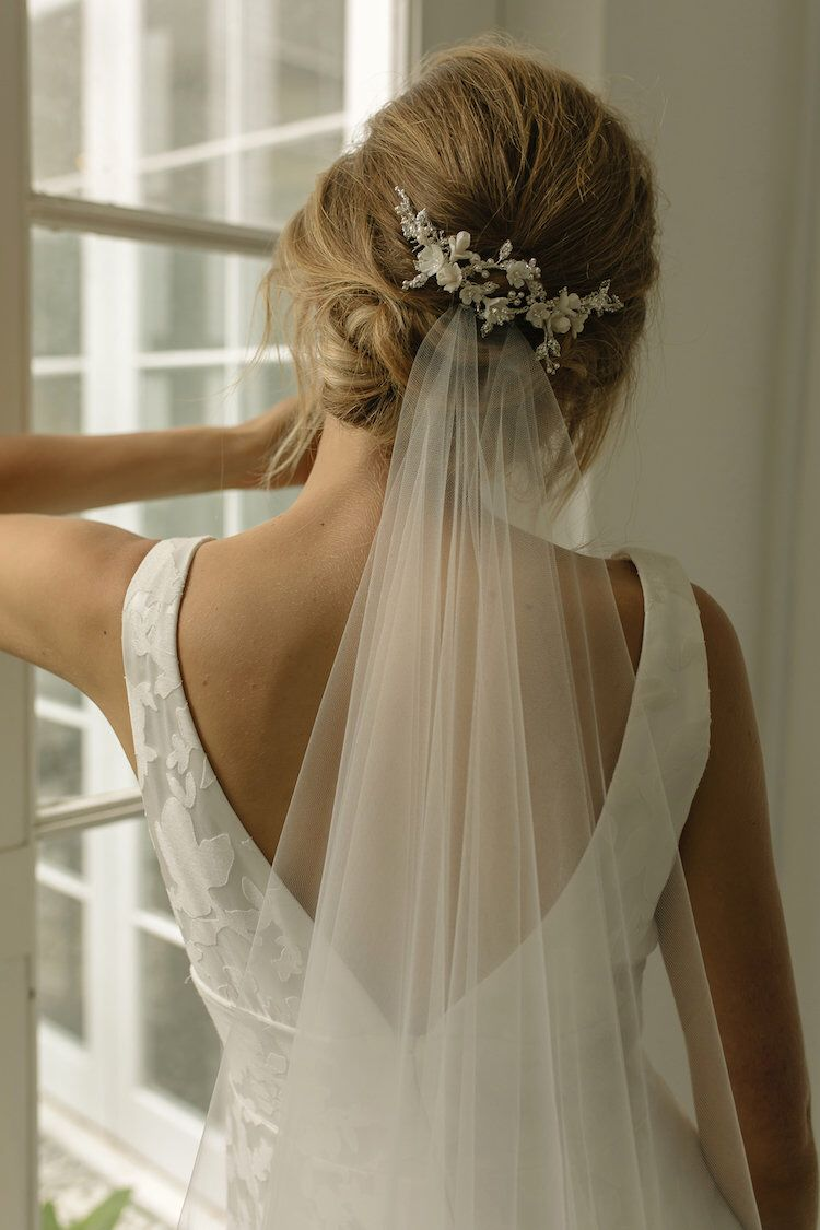 ROSEMONT | Floral wedding headpiece with silver crystals #shortbridalhairstyles