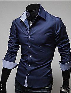 5b7fa8b8bde0a Camisa De los hombres Un Color Casual   Trabajo   Formal-Algodón    Poliéster-Manga Larga-Negro   Azul   Rojo   Blanco