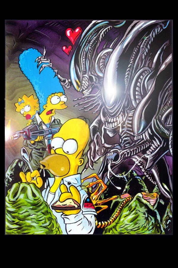 Xenomorphs Vs The Simpson By Jlfletch Monster Artwork Alien Vs Aliens Funny