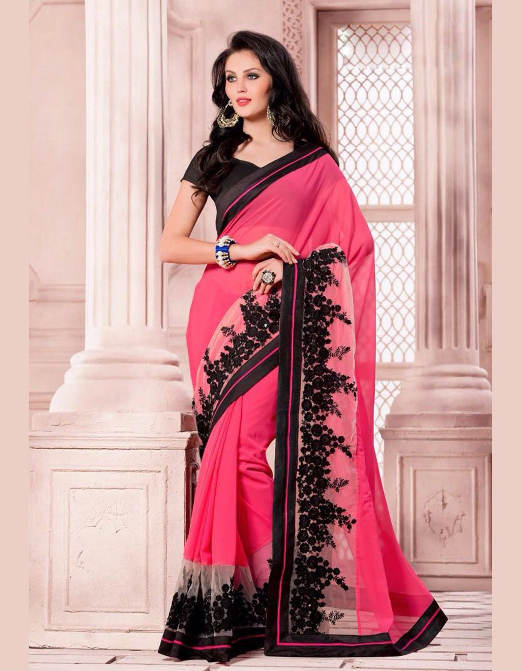 Pink Georgette Party Wear Saree 70672 | Indian feminity | Pinterest