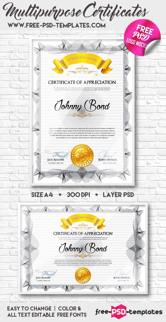 Free A4 Multipurpose Certificates Template 24 Mb Free Psd