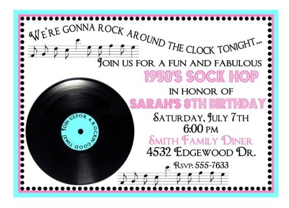 Personalized Birthday Invitations 1950s Rock n Roll Sock Hop – Rock and Roll Party Invitations