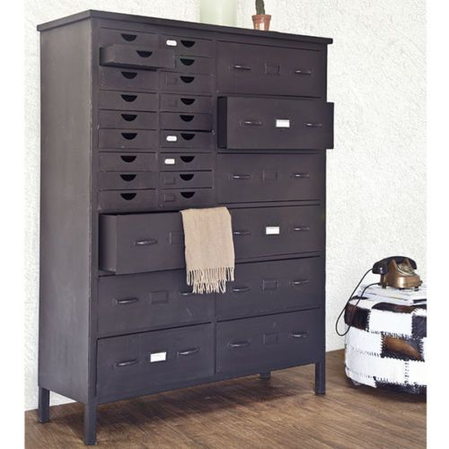 industrie design schubladenschrank highboard konsole schrank metall schwarz neu ebay. Black Bedroom Furniture Sets. Home Design Ideas