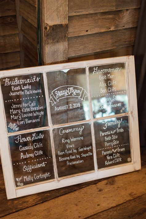Window pane wedding program menu welcome sign made for Wedding sign in ideas
