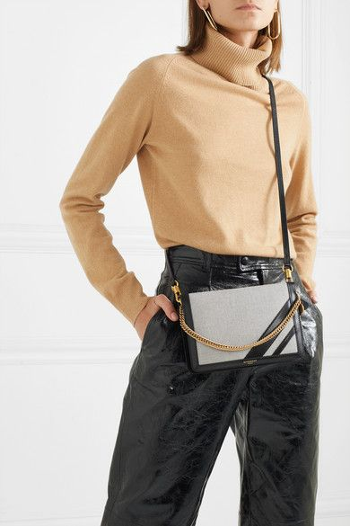 41325a58596c Givenchy Gv Cross Suede-trimmed Canvas And Textured-leather Shoulder ...