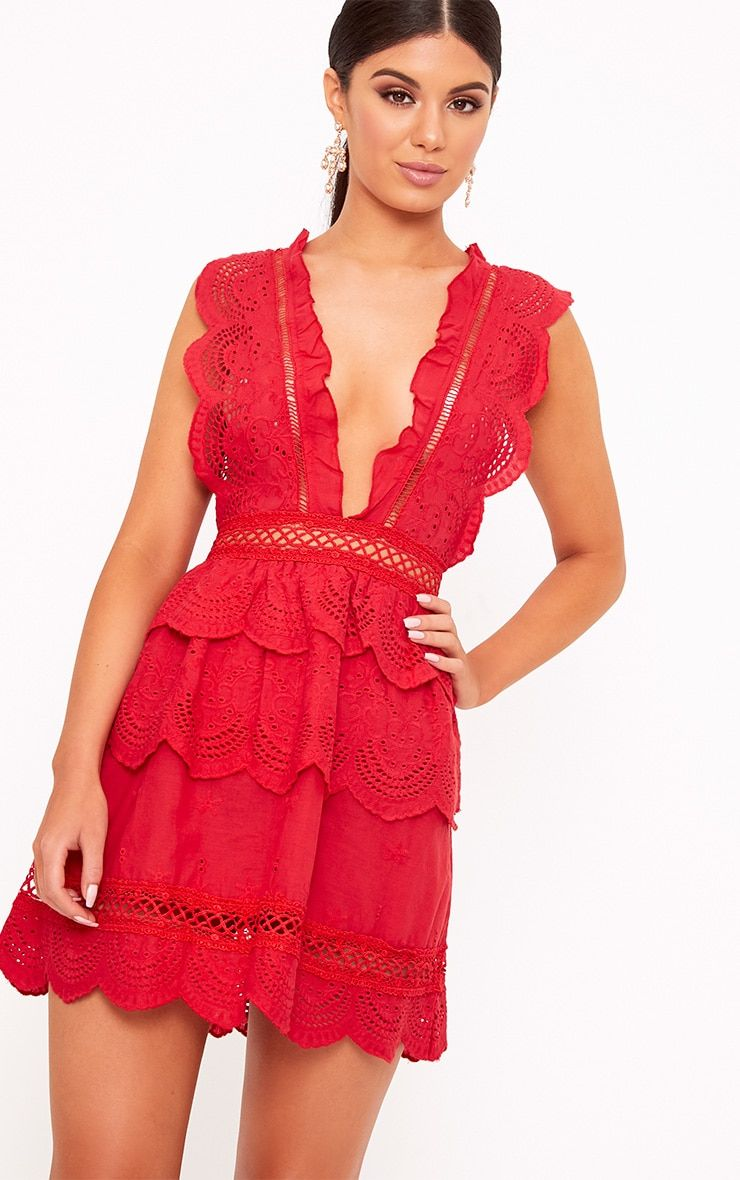 01ce15caeab4 Thalia Red Crochet Lace Plunge Swing Dress | Formal Dresses ...