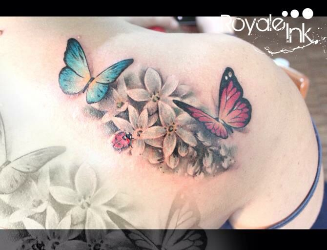 299bbbe017b21 Flowers butterfly and ladybug tattoo colors Carolina Avalle ...