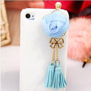 roses tassels Samsung iPhone dust plug blue fo $7 Only! Shop Now! for order queries inbox us at https://www.facebook.com/Glamourforgirls or email us at glamourous_girls@hotmail.com