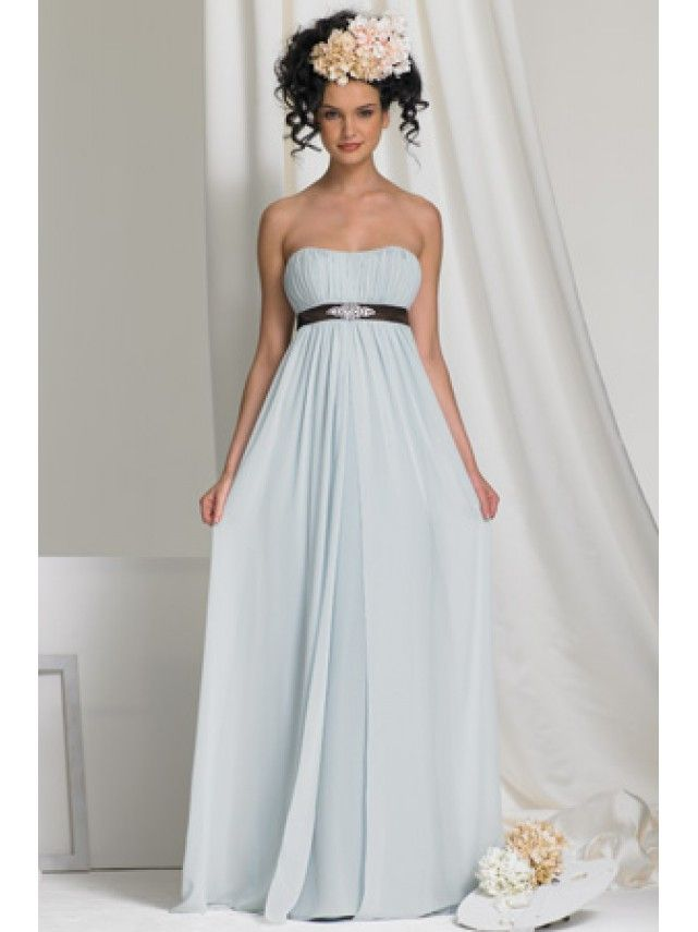 Cheap Empire Blue Long Chiffon Bridesmaid Dresses Maternity Evening ...