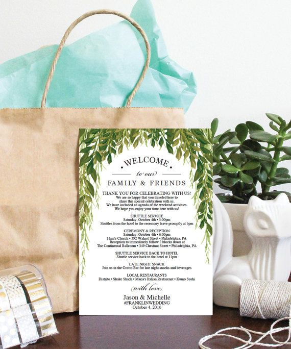 Diy Simple Greens Wedding Itinerary Instantly Download Edit