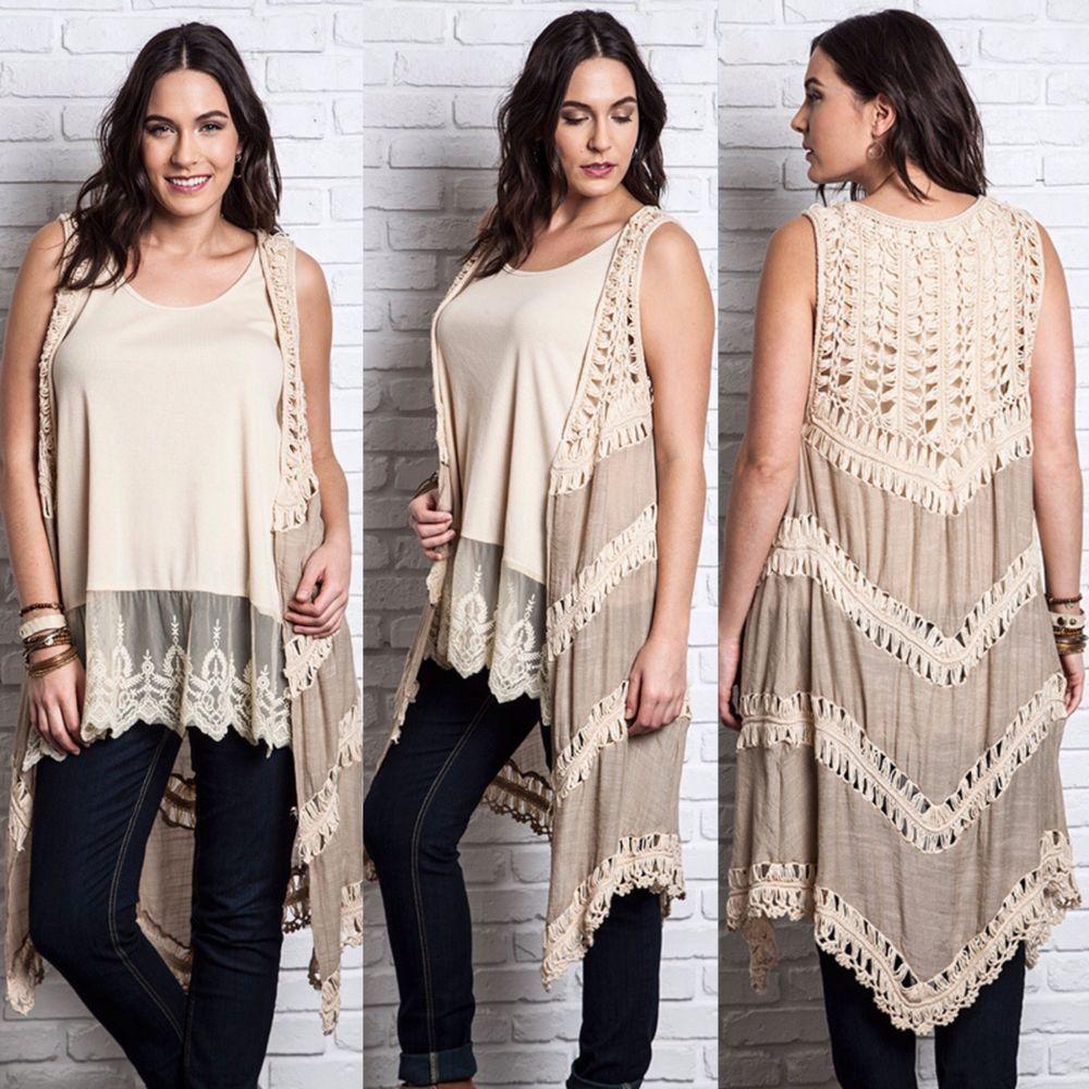 New UMGEE Long Drape Open Crochet Knit Sleeveless Sweater Vest Top ...