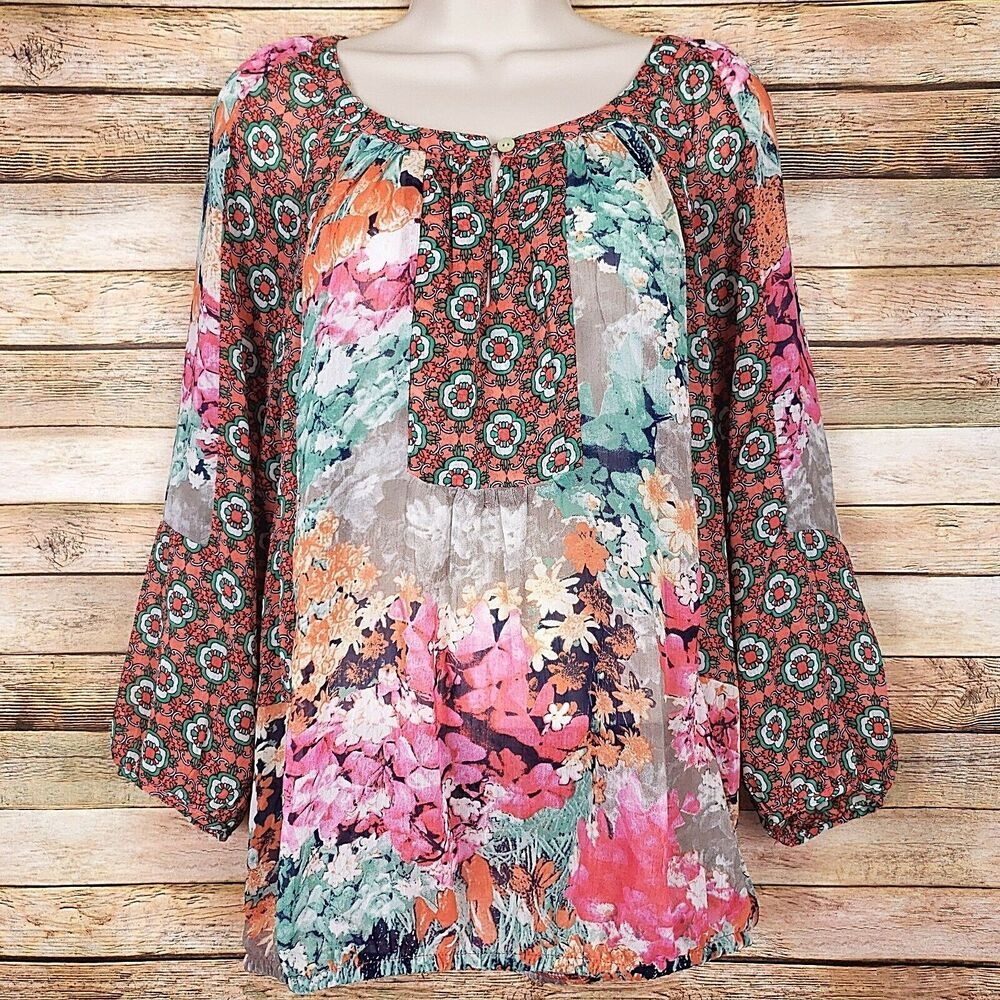 8b6b9e6f96737e Fig and Flower Anthropologie Blouse Large L Floral Boho Peasant Semi Sheer  Top #Anthropologie #