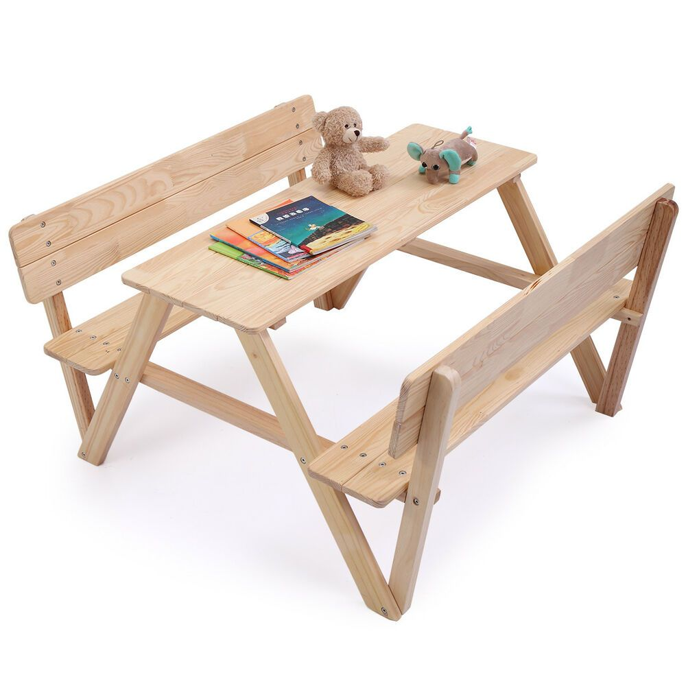 Magnificent Ebay Sponsored Kids Table Bench Set Children Wooden Picnic Inzonedesignstudio Interior Chair Design Inzonedesignstudiocom