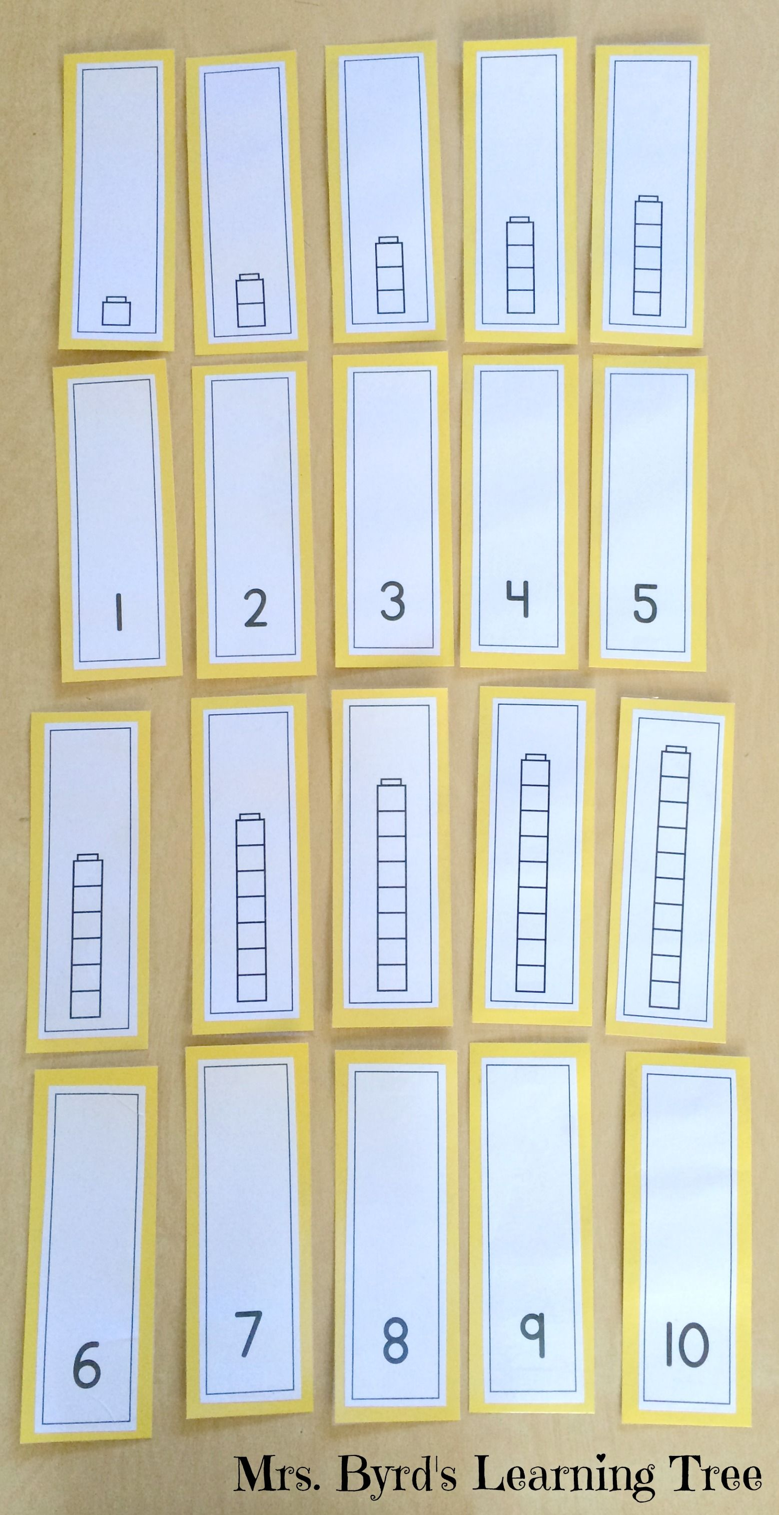 Number Cube Tower Cards 1 10